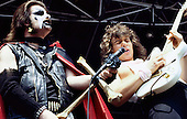 MERCYFUL FATE - King Diamond and guitarist Hank Sherman - performing lin at the Heavy Sound Festival held at the Sportsfield in Poperinge Belgium - 10 Jun 1984.  Photo credit: PG Brunelli/IconicPix
