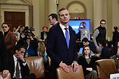 David A. Holmes, Political Counselor, United States Embassy in Kyiv, Ukraine, on behalf of US Department of State, waits to continue his testimony during the US House Permanent Select Committee on Intelligence public hearing as they investigate the impeachment of US President Donald J. Trump on Capitol Hill in Washington, DC on Thursday, November 21, 2019.<br /> Credit: Ron Sachs / CNP<br /> (RESTRICTION: NO New York or New Jersey Newspapers or newspapers within a 75 mile radius of New York City)