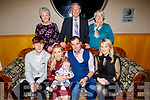 The christening party of baby Jake Flahive from Ballyheigue in the Ballyroe Heights Hotel on Saturday.<br /> Seated l to r: Eamonn Carmody (GF), mom Collette, baby Jake and dad TJ Flahive and Joan O'Sullivan (GM).<br /> Standing l to r: Grandparents Bridie Griffin, John and Mary Flahive.