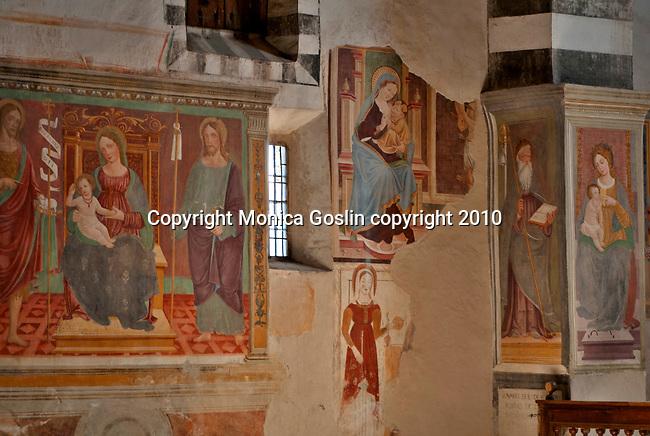 Frescos in the 16th century church, San Giacomo Vecchia, in the mountain town of Livo just above Gravedona on Lake Como, Italy