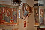 Frescos in the 16th century church, San Giacomo Vecchia, in the mountain town of Livo just above Gravedona on Lake Como, Italy