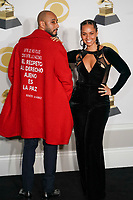 NEW YORK - JANUARY 28: Swizz Beatz and Alicia Keys poses in the press room at the 60th Annual Grammy Awards at Madison Square Garden on January 28, 2018 in New York City. (Photo by Ben Hider/PictureGroup)