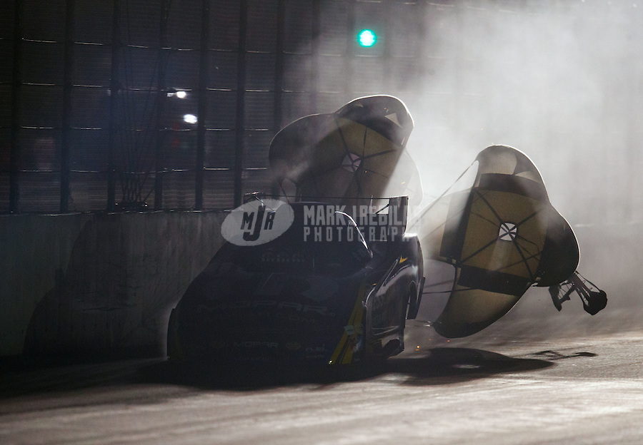 Feb 11, 2017; Pomona, CA, USA; NHRA funny car driver Matt Hagan during qualifying for the Winternationals at Auto Club Raceway at Pomona. Mandatory Credit: Mark J. Rebilas-USA TODAY Sports