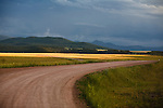 A rural montana road on a stormy day near Dillon, Montana