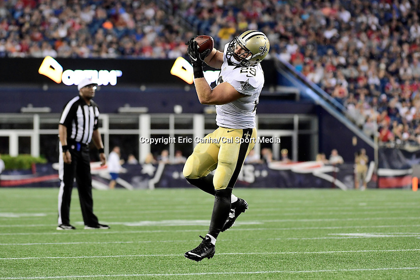 Thursday August 11, 2016: New Orleans Saints defensive back Tony Carter (29) makes a catch during an NFL pre-season game between the New Orleans Saints and the New England Patriots held at Gillette Stadium in Foxborough Massachusetts. The Patriots defeat the Saints 34-22 in regulation time. Eric Canha/CSM