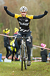 Santa Cyclocross organised by West Lothian Clarion, Linlithgow Leisure Centre, 7th December 2013<br /> <br /> Pictured: Winner of the adult race, Matthew Ball<br /> <br /> Image by: Malcolm McCurrach