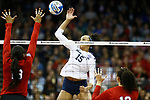 KANSAS CITY, KS - DECEMBER 14: Haleigh Washington #15 of Penn State University jumps for a kill against the University of Nebraska during the Division I Women's Volleyball Semifinals held at Sprint Center on December 14, 2017 in Kansas City, Missouri. (Photo by Tim Nwachukwu/NCAA Photos via Getty Images)