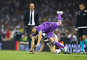 June 3rd 2017, National Stadium of Wales , Wales; UEFA Champions League Final, Juventus FC versus Real Madrid; Leonardo Bonucci of Juventus upends Karim Benzema of Real Madrid