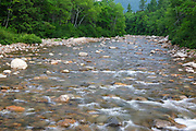 Swift River during the summer months in the White Mountains, New Hampshire USA. Example of Boulder - cobble river channel
