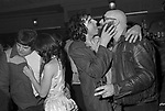 Richard Branson, Virgin Records company office party at The Venue Victoria London 1978. Keith Moon drummer of the rock band Who and friend Gillan bassist, John McCoy. (?)