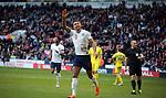 Dominc Calvert-Lewin celebrates after opening the scoring for England during England U-21 v Ukraine U-21, Sheffield, United Kingdom, 27th March 2018. Photo by Glenn Ashley.