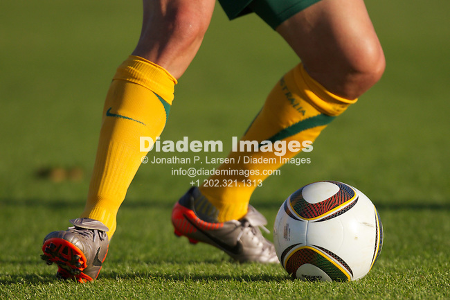 ROODEPOORT, SOUTH AFRICA - JUNE 5:  An Australian player controls the ball during an international soccer friendly against the United States ahead of the 2010 World Cup at Ruimsig Stadium on June 5, 2010 in Roodepoort, South Africa.  Editorial use only.  Commercial use prohibited.