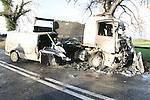 The remains of the two burned out vehicles on the Navan to Kells road in Co Meath. the Driver of the smaller Van was killed at the scene when the vehicle he was in cought fire. the driver of the other vehicles were removed to hospital. This was one of four accidents in the North east in the few hours on friday morning..Photo: Newsfile/Fran Caffrey.