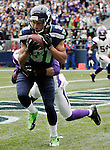 Seattle Seahawks wide receiver Golden Tate hauls in a six-yard touchdown pass from quarterback Russell Wilson in front of Minnesota Vikings cornerback A.J. Jefferson at CenturyLink Field in Seattle, Washington on  November 4, 2012.    The Seahawks beat the Vikings 30-20.     ©2012. Jim Bryant Photo. All Rights Reserved.