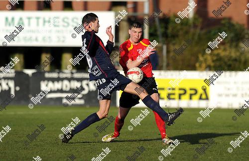 2012-02-19 / Voetbal / seizoen 2011-2012 / Kapellen - Herk-de-Stad / Appeltans met Bryan Van den Bogaert (r, Kapellen)..Foto: Mpics.be