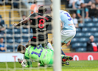 Blackburn Rovers' Jayson Leutwiler saves under pressure from Bolton Wanderers' Clayton Donaldson<br /> <br /> Photographer Andrew Kearns/CameraSport<br /> <br /> The EFL Sky Bet Championship - Blackburn Rovers v Bolton Wanderers - Monday 22nd April 2019 - Ewood Park - Blackburn<br /> <br /> World Copyright © 2019 CameraSport. All rights reserved. 43 Linden Ave. Countesthorpe. Leicester. England. LE8 5PG - Tel: +44 (0) 116 277 4147 - admin@camerasport.com - www.camerasport.com