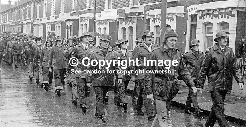 UDA members marching to a Remembrance Sunday event at the Peaceline in West Belfast organised jointly by the Ulster Defence Association, UDA, and the West Belfast Orange Volunteers, 12th November 1972. 197211120782c<br /><br />Copyright Image from Victor Patterson, 54 Dorchester Park, Belfast, UK, BT9 6RJ<br /><br />t1: +44 28 9066 1296 (from Rep of Ireland 048 9066 1296)<br />t2: +44 28 9002 2446 (from Rep of Ireland 048 9002 2446)<br />m: +44 7802 353836<br /><br />e1: victorpatterson@me.com<br />e2: victorpatterson@gmail.com<br /><br />The use of my copyright images is subject to my Terms &amp; Conditions.<br /><br />It is IMPORTANT that you familiarise yourself with them. They are available on my website at www.victorpatterson.com.<br /><br />None of my copyright images may be used on a website unless they are visibly watermarked, i.e. &copy; Victor Patterson within the body of the visible image. Metadata denoting my copyright must NOT be deleted. <br /><br />Web use is extra at currently recommended NUJ rates.