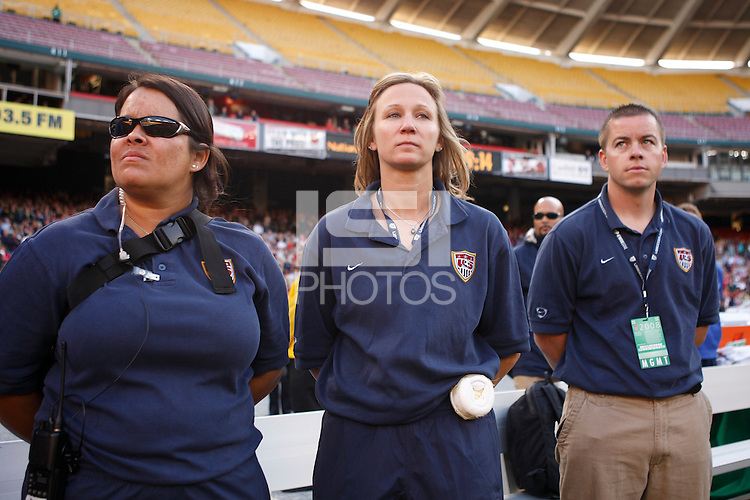 The women's national team of the United States defeated Canada 6-0 during an international friendly at Robert F. Kennedy Memorial Stadium in Washington, D. C., on May 10, 2008.