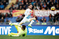 Napoli&rsquo;s Dries Mertens, right, scores his first goal as Roma&rsquo;s goalkeeper Wojciech Szczesny tries to stop him during the Italian Serie A football match between Roma and Napoli at Rome's Olympic stadium, 4 March 2017. <br /> UPDATE IMAGES PRESS/Isabella Bonotto