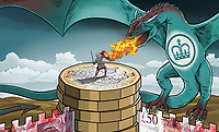 Soldier protecting money fortress against British HM Revenue and Customs dragon ExclusiveImage