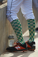Ryan Walker (49) of the Augusta GreenJackets wears a pair of funky socks during the game against the Kannapolis Intimidators at SRG Park on July 6, 2019 in North Augusta, South Carolina. The Intimidators defeated the GreenJackets 9-5. (Brian Westerholt/Four Seam Images)