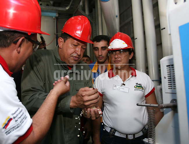 Venezuelan President Hugo Chavez during the inauguration of a state owned corn plant La Veguita that makes corn flour Socialist Venezuela.