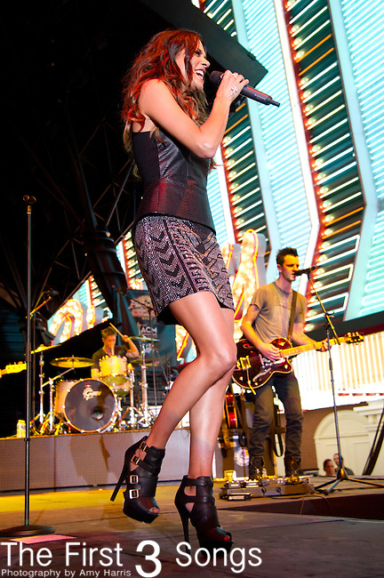 Jana Kramer performs during the 2013 ACM Concerts at Fremont Street Experience Event in Las Vegas, Nevada.