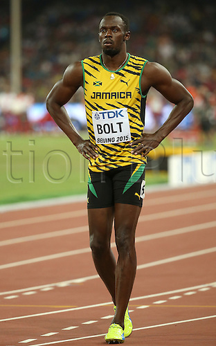 22.08,2015. Beijing, China.   Usain Bolt of Jamaica prepares for the start in the Men's 100 M Qualification at the 15th International Association of Athletics Federations (IAAF) Athletics World Championships at the National stadium, known as Bird's Nest, in Beijing, China, 22 August 2015.