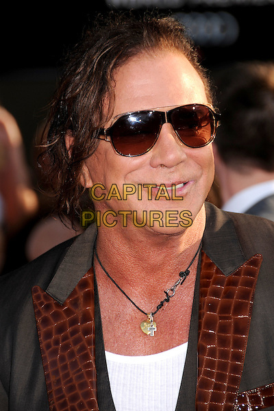 "MICKEY ROURKE .""Iron Man 2"" World Premiere held at the El Capitan Theatre, Hollywood, California , USA, .26th April 2010..arrivals portrait headshot  grey gray sunglasses grey gray brown lapel necklace white vest croc suit jacket smiling  .CAP/ADM/BP.©Byron Purvis/AdMedia/Capital Pictures."