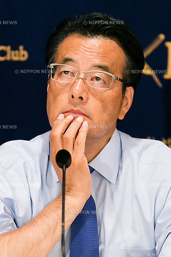 Katsuya Okada, leader of the main opposition Democratic Party (DP) attends a press conference at the Foreign Correspondents' Club of Japan on July 1, 2016, Tokyo, Japan. Okada talked about the failed politics of Abenomics and said that ahead of this month's House of Councillors elections he had written to sent a letter to the Liberal Democratic Party leader, Prime Minister Shinzo Abe, to request answers on questions regarding the economy, consumption tax, the revision of Japan's security policy (Article 9), and the scandals related to former Minister of State for Economic and Fiscal Policy, Akira Amari, and former Tokyo Governor, Yoichi Masuzoe. (Photo by Rodrigo Reyes Marin/AFLO)