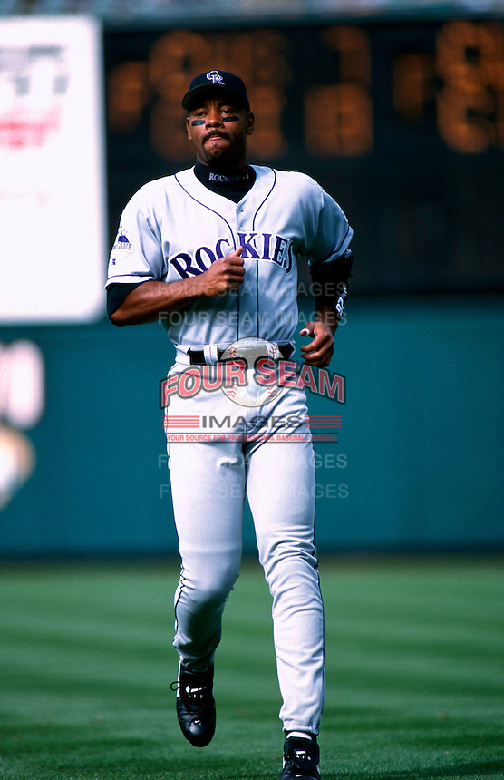 Ellis Burks of the Colorado Rockies plays in a baseball game at Edison International Field during the 1998 season in Anaheim, California. (Larry Goren/Four Seam Images)