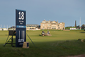 2nd October 2017, The Old Course, St Andrews, Scotland; Alfred Dunhill Links Championship golf practice round; 18th tee on the Old Course, St Andrews