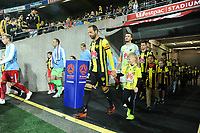 Phoenix captain Andrew Durante leads his team out for the A-League football match between Wellington Phoenix and Melbourne City FC at Westpac Stadium in Wellington, New Zealand on Sunday, 21 April 2019. Photo: Dave Lintott / lintottphoto.co.nz