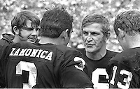 Oakland Raider Quarterbacks Ken Stabler, Daryle Lamonica and George Blands, and Rod Sherman far right. (1970 photo/Ron Riesterer)