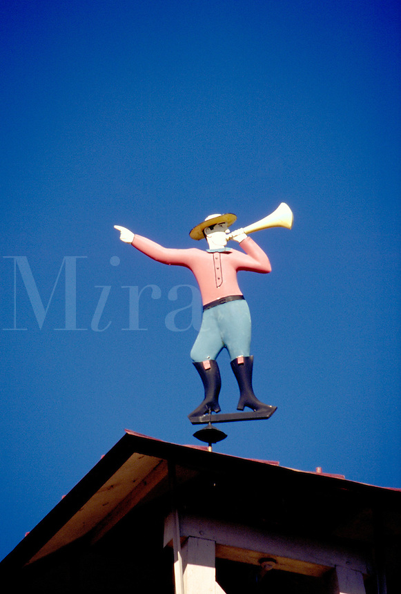 "Fair Play Fire Co. No. 1 firehouse, the oldest volunteer fire company in Indiana, is topped by """"Little Jimmy"""", a painted tin weathervane in the form of a fireman calling volunteers. Madison Indiana."