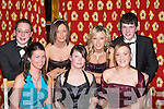DEBS: Having a wonderful time at Gaelcholaiste Chiarrai and CBS The Green Debs on Thursday night at the Earl of Desmond Hotel, Tralee. Front l-: Irene Nic Charthaigh, Cait Nic Allmain and Deirdre Ni Choncubhair. Back l-r: Oisin de Conduin, Emma O'Brien, Carrie Griffin and Ciaran O Coigligh..