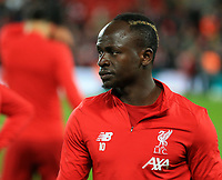 24th February 2020; Anfield, Liverpool, Merseyside, England; English Premier League Football, Liverpool versus West Ham United; Sadio Mane of Liverpool during the pre mach warm up