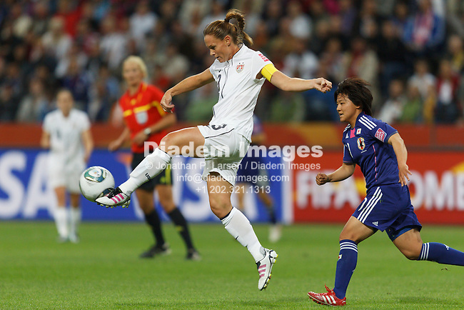 FRANKFURT, GERMANY - JULY 17:  United States team captain Christie Rampone kicks the ball during the FIFA Women's World Cup final against Japan July 17, 2011 at FIFA Women's World Cup Stadium in Frankfurt, Germany.  Editorial use only.  (Photograph by Jonathan P. Larsen)