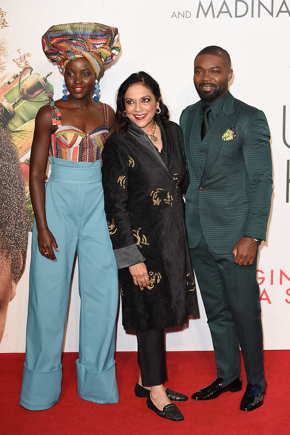 "Lupita Nyong'o, director Mira Nair and David Oyelowo<br /> at the London Film Festival 2016 premiere of ""Queen of Katwe"" at the Odeon Leicester Square, London.<br /> <br /> <br /> ©Ash Knotek  D3168  09/10/2016"
