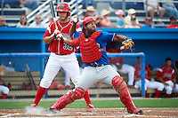 Auburn Doubledays catcher Andruth Ramirez #6 throws down to second in front of Jacob Wilson #32 during a NY-Penn League game against the Batavia Muckdogs at Dwyer Stadium on September 3, 2012 in Batavia, New York.  Auburn defeated Batavia 5-3.  (Mike Janes/Four Seam Images)