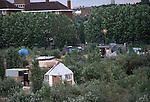 buildings made from scrap on the Pure Genius housing  protest, Wandsworth Eco village. The Guiness Site. Wandsworth .