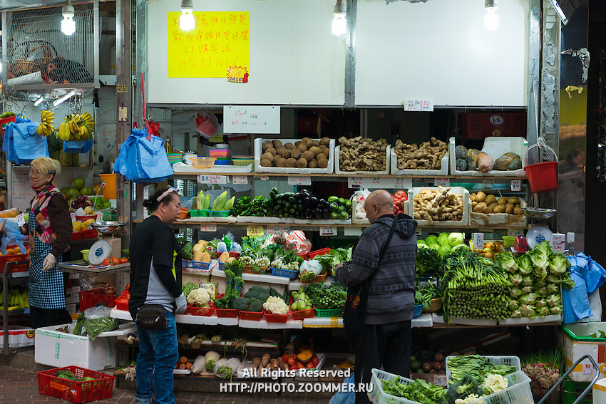 Hong Kong open air market, fruits and vegetables shop