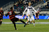 Chester, PA - Friday December 08, 2017: Corey Baird, Skye Harter The Stanford Cardinal defeated the Akron Zips 2-0 during an NCAA Men's College Cup semifinal match at Talen Energy Stadium.