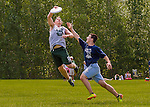 30 May 2015: Spaulding High School plays Saint Johnsbury in a consolation round of the VYUL State Ultimate Disk Championships at Bombardier Park in Milton, Vermont. Mandatory Credit: Ed Wolfstein Photo *** RAW (NEF) Image File Available ***