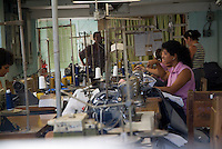 Women sewing in a textiles factory, Santa Clara, Cuba