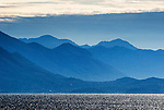 Blue misty mountains on the coast of Croatia.