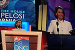 Speaker of the House Nancy Pelosi gives a speech at the start of the Democratic National Convention at the Pepsi Center in Denver, Colorado on August 25, 2008.