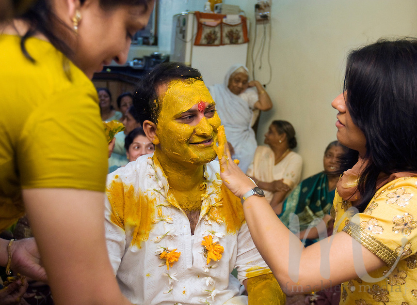 Suketu Soni The Groom Gets Covered In Traditional Turmeric A Hindu Wedding Blessing