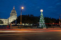 Texas State Capitol and the Texas State Christmas Tree in Austin, Texas during the winter holiday season.