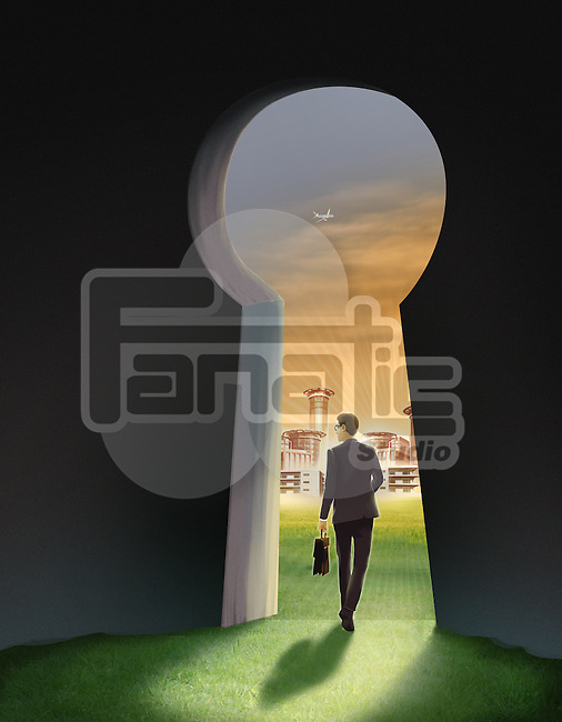 Illustration of businessman going out of keyhole representing hope